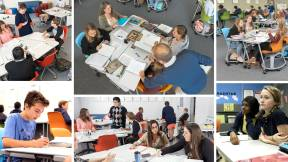 A collage of photographs showing Steelcase products in educational settings