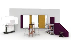 Collaborative space perfect for brainstorming, equipped with Steelcase Flex Collection abd Extremis Tiki-High Height Seats.