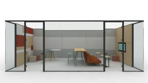 Rendering of collaborative space with products such as V.I.A. glass walls, Potrero415 table