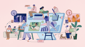 Illustration of people working collaboratively while being remote