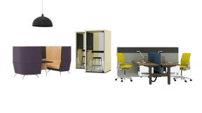 Migration Bench, Think Chair, Dash Light, Sarto Screen, Orangebox Aspect/Cwtch, Viccarbe Maarten Stool, Taiga Concept Lohko Phone Booth, UPV Storage