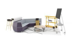 Steelcase Media: Scape Lounge, Turnstone Bassline Ocasional Table, Steelcase Flex Cart, Turnstone Campfire Personal Table, Grado Nest Stool