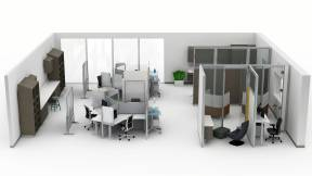 Rendering of a large health space with products such as: Amia seating, Answer panels, Convey modular casework, Groupwork table, Media:scape