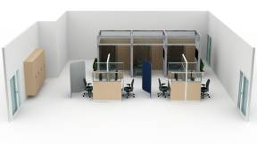 Montage Panel Systems, Ology Desk, Amia Chair, Convey Modular Casework, Steelcase Flex Collection, Regard, Embold, Blu Dot Splash Coat Rack, Surround, Volley Monitor Arms, V.I.A. Planning Idea