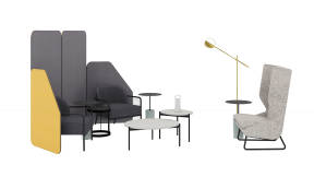 m.a.d. Wing Lounge, m.a.d. Circa Lounge, m.a.d. Pier Table, Bolia Drum Coffee table , Michael Strads Delphine Table , Steelcase Flex Mobile Power, Steelcase Flex Freestanding Screens