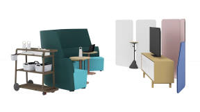 Orangebox Away from the Desk, Montara Café Table, Bolia Floow Cabinet, Steelcase Flex Mobile Cart, Steelcase Flex Collection, m.a.d. Sling Side Table