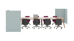 Steelcase B-Free Privacy Screen, Orangebox Cubb Table, Coalesse Massaud Conference