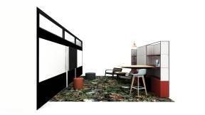 Steelcase Mackinac, Steelcase VIA Wall,Uhuru DK Chair, Orangebox Cubb Stool, Blu Dot Bumper Ottoman, Blu Dot Trace Pendant, Surface Hub Planning Idea