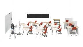 Steelcase Roam Cart, Steelcase Verb Table, Steelcase Node Chair, Steelcase Touch Down Table, Steelcase Series 1, Steelcase Post Covid Freestanding Screen, Steelcase B-Free, Steelcase Shortcut, Steelcase Flex Team Cart, Polyvision Flow