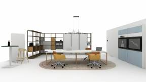 Rendering of a collaborative space with products such as: West Elm Greenpoint Continuous Top Table, Coalesse Marien 152 Seating, Flex Active Frames, Flex Mobile Power, Flex Accessories: Basket, V.I.A. Media Wall, Turnstone Pivot Screen, Mattiazzi She Said Stool, Turnstone Simple Table Café Height table, Moooi Tinkering LED Linear Suspension Light, Moooi Swell Sunstone Rug, Steelcase Room Wizard II