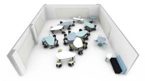 Steelcase Node Chair, Steelcase Flow Magnetic Whiteboard, Steelcase Thread Hub, Steelcase Simple Stool, Steelcase Campfire Big Lounge, Steelcase Elbrook Tables