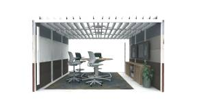 Orangebox Air 29 Pod​ Steelcase Silq Stool Steelcase Mediascape Table​ Steelcase Elective Elements Storage​ Viccarbe Window Coat Rack Bludot Plot Planter