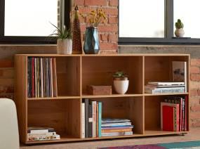 Books and plants are displayed on a Bivi Depot, 2-shelf style shelf