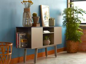 A freestanding Bivi Trunk is used to store books and display plants