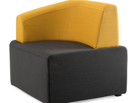 Dark grey B-Free Big Cube Lounge Chair with yellow l-shaped armrest