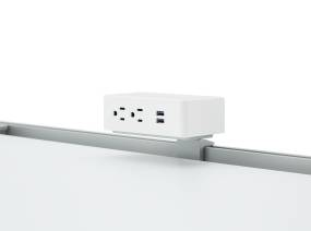 White 2 Outlet USB Powerstrip Rail Mount on a white background.