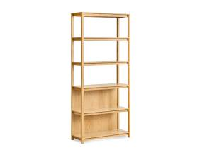 on white image of an open plan bookcase