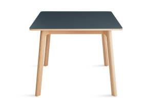 green apt square cafe table with wooded legs