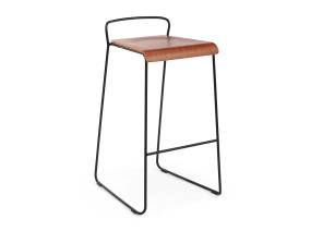 Transit barstool by m.a.d. furniture in brown with black metal base on white background