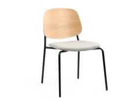 Wood Platform Chair by m.a.d. furniture with black frame on white background