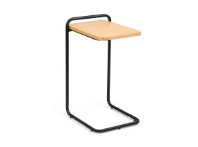 Sling Side Table by m.a.d. furniture on Natural Ash color and black frame on a white background