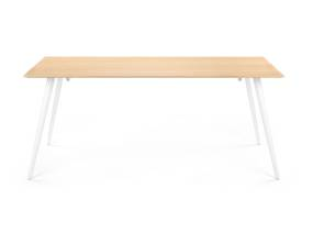 Wood Airfoil Table by m.a.d. furniture with white base, on a white background