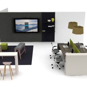 A rendering showing an overhead view of workstations created with Steelcase products next to a collaborative space