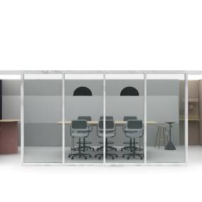 A rendering shows Steelcase QiVi stools in a conference room. A Steelcase Flex Stand is seen nearby.