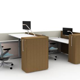 Steelcase Answer Beam, Steelcase High Density Storage, Steelcase Ology Height-Adjustable Desks, Steelcase Gesture Chairs, Steelcase CF Series Flat Panel Arm Planning Idea