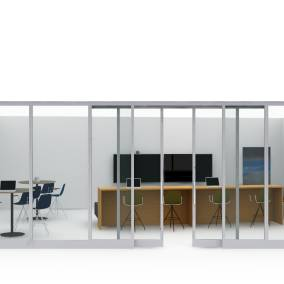 On-white rendering of an enclosed team workspace furnished with parter products.