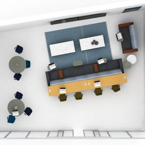 On-white, top-down rendering of a workspace that includes a working bench for four, an adjacent seating area, a lounge area, and two group-oriented tables. Furnished with partner products.