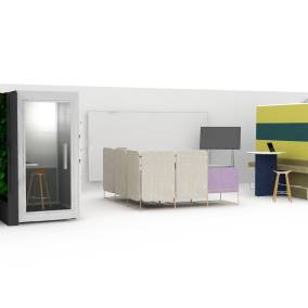 Planning Idea with Umami, privacy screens, Air3, stools, Steelcase Roam