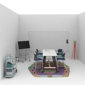 Application that includes a Cubb table, Move stools, RoomWizard, Steelcase Roam in a corner.