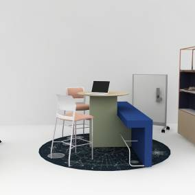 Application that includes Move stools, whiteboards, Moooi Celestial rug