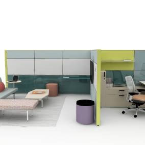 On-white image of a workspace that is half resident workspace, half lounge area. Featuring Slyvi, Amia Air and Migration.