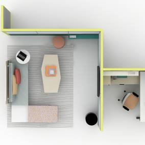 Top down view of a workspace with partitioned walls and partner products.