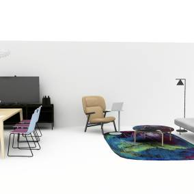 On-white image of a workspace that includes a team table for six and a lounge area.