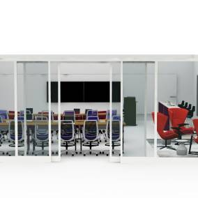 Rendering of a classroom with Verb tables, Amia chairs, Privacy glass, Shortcut stools