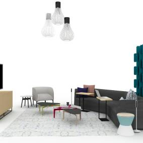 Rendering of a collaborative space with grey sofa, two personal tables, lounge chair