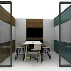 V.I.A Walls, Verlay rectangle table, Bivi storage, Blu Dot Between Us barstool Planning Idea