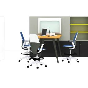 Steelcase Flex Stand Table, Steelcase Freestand Sceen, Steelcase Flex Markerboard, Steelcase B-Free Table with wood leg, Steelcase B-Free Cube, Steelcase SILQ Stools, Steelcase media:scape Mini, Steelcase UPV Storage