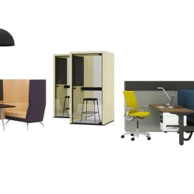 Migration Bench, Think Chair, Dash Light, Sarto Screen, Orangebox Aspect/Cwtch, Viccarbe Maarten Stool, Taiga Concept Lohko Phone Booth, UPV Storage