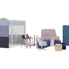 Orangebox Away From The Desk, Orangebox Air3 Pod 25, SW_1 Chair w/ tablet, Microsoft Roam Cart, Viccarbe Season Pouf, M.A.D. Sling Barstool, Flex Slim Table, Flex Stand Table, Flex Screen, Coalesse Potrero415 Table, Silq Chair
