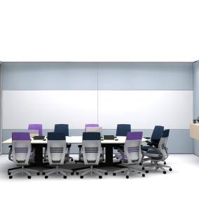 Rendering of Orangebox pod with purple Gesture chairs, media:scape technology, Elective elements wooden table