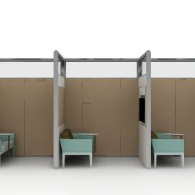 Rendering of three private work area with VIA walls, baby blue seats