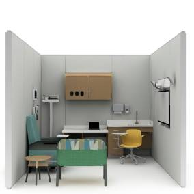 Rendering of a hospital area with yellow Node chair, wooden storage, Empath chair,