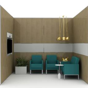 Renderinf of a private space with three green Leela chairs, golden FLOS chandelier hanging from the ceiling, a screen on the wall.