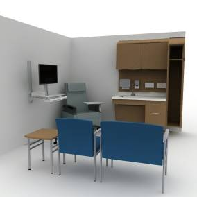 Rendering of an exam room with two blue sofa chairs, small wooden table, white sink with wooden drawers.