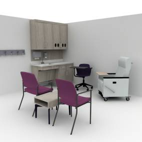 Rendering of an exam room with two purple chairs, small Bassline wooden table, black Node chair with table.