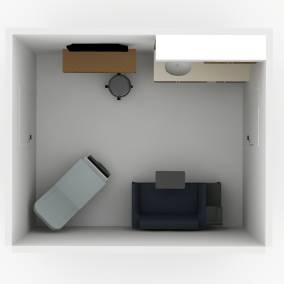 Rendering of an exam room with a blue Surround sofa with table, verge small seat, Convey drawers and sink